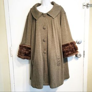 Live A Little Plus Size Fur Trim Sleeve Knit Coat